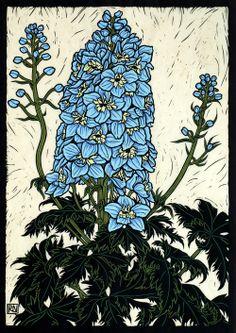 Delphinium49 x 35 cm  Edition of 50Hand coloured linocut on handmade  Japanese paper.    Rachel Newling.