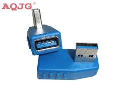 10pcs /lot new arrival Right + Left angle 90 degree USB 3.0 Male To A Female Adapter Converter AQJG