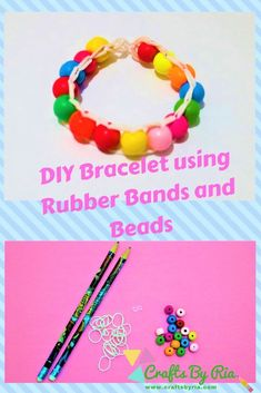 Easy DIY Bracelet- Make your own beautiful bracelet easily with rubber bands and beads! This is very easy and fun to make!