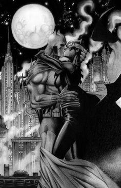 Batman and Catwoman have a romantic moment high over Gotham. Catwoman Cosplay, Batman And Catwoman, Batman Art, Batgirl, Catwoman Comic, Dc Comics, Comics Girls, Comic Books Art, Comic Art