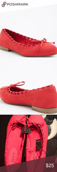 New torrid red ballet flats suede size 12 wide New, shows wear on bottom due to trying on in store torrid Shoes Flats & Loafers