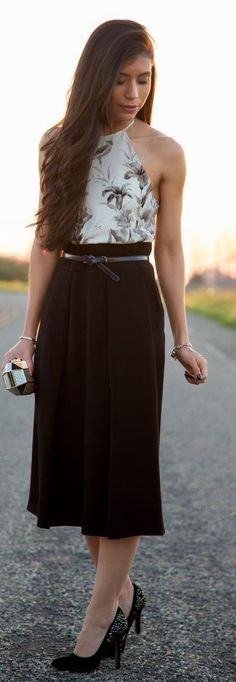 White And Black Floral Halter Top + Black Maxi Skirt