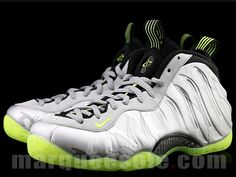 big sale 9f384 371ae Silver and lime Nike Foamposite Air Foamposite Pro, Best Looking Shoes,  Foam Posites,