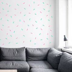 Could do with washi tape! - Sprinkle Shower Wall decal / Wall Sprinkles Vinyl Sticker / Mint & Pink Sprinkle Nursery decor / Sprinkles Birthday / Sprinkle decoration