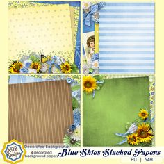 Blue Skies Decorated (Stacked) Papers - $1.79 : Digital Scrapbooking Studio part of the Blue Skies Collection by #ADBDesigns