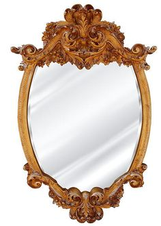 Acanthus Frill Wall Mirror Antique Reproduction, Baroque Color Finish