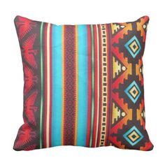 Tribal Fabric Inspired Print Brown Hue Throw Pillow