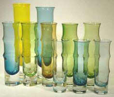 1960s bamboo vases by Bo Borgström for Åseda, Sweden