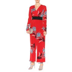 --evaChic--This Diane von Furstenberg Farren Lipstick Long-Sleeve Cross Over Jumpsuit is a single-piece evening look featuring a floral print, a contrast sash belt, a surplice front, and a wide-leg silhouette referencing Japanese kimonos. It is also based on the designer's 70s wrap dress silhouette for an east-meets-west spin on special occasion wardrobe.     https://www.evachic.com/product/diane-von-furstenberg-farren-lipstick-long-sleeve-cross-over-jumpsuit/