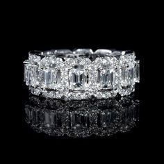 Diamond Emerald and Round Brilliant Cut 18k White Gold Eternity Wedding Band Ring