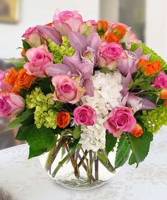 Sunny Sorbet - This showstopping arrangement is designed in a large bubble bowl. Included in the assortment are cymbidium orchids, roses hydrangea and more. Mother's Day Bouquet, Photo Bouquet, Rose Bouquet, Flower Bouquets, Summer Flowers, Fresh Flowers, Beautiful Flowers, Spring Mix, Luxury Flowers