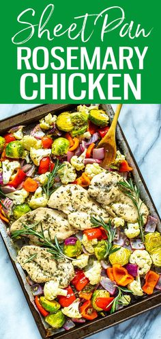 This Sheet Pan Rosemary Chicken is a healthy, low-carb meal prep idea that is perfect as a 30-minute dinner or to pack up as lunch bowls! #sheetpan #rosemarychicken Rosemary Chicken, Kung Pao Chicken, Sheet Pan, Dinners, Ethnic Recipes, Food, Springform Pan, Dinner Parties, Food Dinners