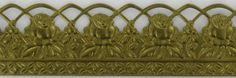 1-3/8in.  SCROLL PERFERATED BANDING WITH ROSES AND BORDER. SOLID BRASS BANDING SOLD IN 10FT LENGHTS.