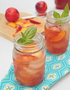 Peach Basil Iced Tea / Shop loose-leaf black tea online for this recipe: http://shop.pekoesiphouse.com/product-category/tea/black-tea/ #iced #tea #peach
