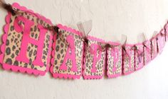 Pink & Leopard Print HAPPY BIRTHDAY Banner with by JustBeccuz, $24.95