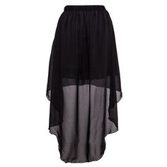 Short Skirt With Sheer Dip Hem Overlay (€15) ❤ liked on Polyvore featuring skirts, mini skirts, bottoms, gonne, saias, black, black hi low skirt, sheer skirt, black layered skirt and black mesh skirt