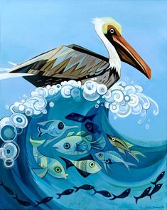 Art And Illustration, Leaves Illustration, Illustrations, Acrylic Painting Canvas, Canvas Art, Canvas Prints, Pelican Art, Pelican Drawing, Pelican Tattoo