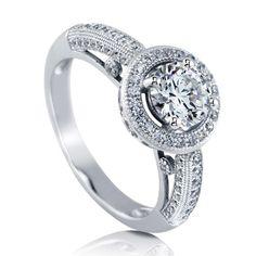 925 Sterling Silver Halo Ring Made With Round Swarovski Zirconia