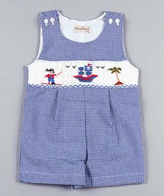 Classy Couture Blue Pirate Smocked Shortalls - Infant by Classy Couture #zulily #zulilyfinds