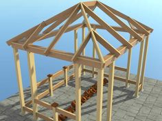 Pergola Attached To House Plans Gazebo Roof, Pergola On The Roof, Gazebo Plans, Pergola Attached To House, Backyard Pavilion, Backyard Gazebo, House With Porch, House In The Woods, Building A Home Bar
