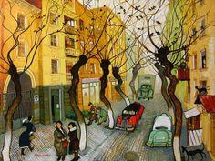 Imerlishvili Otar Old Street Old Street, Street Art, Street 2015, Art Loft, Art Web, Web Gallery, Paintings I Love, London Art, Naive Art