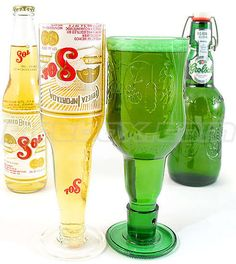 Beer Bottle Goblets: Recycled Sol, Corona & Grolsch