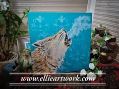 Your place to buy and sell all things handmade Wolf Painting, Free Canvas, Wolf Howling, End Of Summer, Original Artwork, Hand Painted, Etsy Shop, Artist, Artists