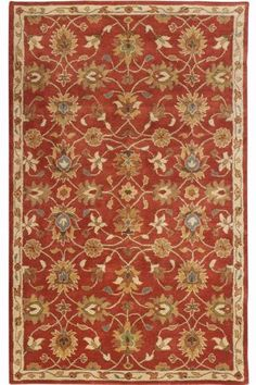 Kent Rug -rust/terra cotta red, grey, and green