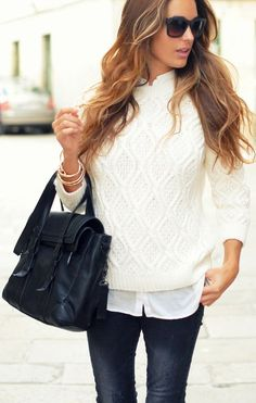 Denim with textured sweater over white blouse