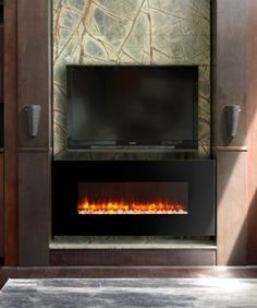 This Dynasty Contemporary Electric Fireplace LED Wall Mount – in. features a colorful LED flame that safely mimics the natural beauty of. Contemporary Electric Fireplace, Built In Electric Fireplace, Electric Fireplaces, Tv Above Fireplace, Fireplace Lighting, Fireplace Inserts, Stone Mantel, Color Changing Lights, Fireplace Design