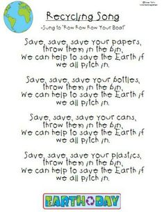 11 Spring Poems for Children and Poetry Ideas - Teach Junkie This would be such a fun way to get the students to remember how important recycling is. We could learn this song and sing it every day of the lessons on recycling. Girl Scout Songs, Spring Poem, Kids Poems, Songs For Children, Spring Songs For Kids, Professor, Daisy Girl Scouts, Girl Scout Daisy Petals, Earth Day Crafts
