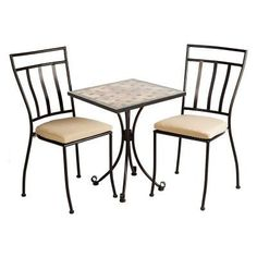 Update your outdoor space with this Alfresco Ponza Metal Bistro Set with Round Granite Top Bistro Table and Bistro Chairs with Cushions. Bistro Chairs, Table And Chairs, Dining Chairs, Patio Furniture Sets, Home Furniture, Outdoor Furniture, 3 Piece Bistro Set, Patio Bar Set, Outdoor Dining Set