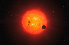 An artist's impression of an exoplanet transiting a red dwarf star in the same way as the newfound, Earth-size exoplanet GJ 1132b does.