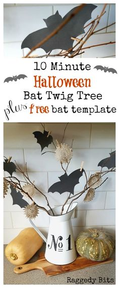 A fun 10 Minute Halloween Bat Twig Tree to add to your decorating this Halloween | Free Bat Template | http://www.raggedy-bits.com