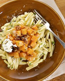 Pasta with butternut squash and pecans. Sauteed butternut squash in a sophisticated pasta dish, with fresh ricotta and toasted pecans