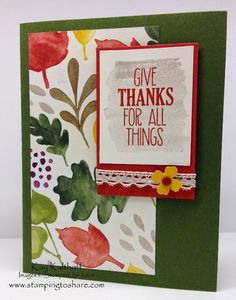 For All Things - Fall Card with How To Video, Color Me Autumn Designer Series Paper, Kay Kalthoff is Stamping to Share with Stampin' Up!, Give Thanks, Thanksgiving