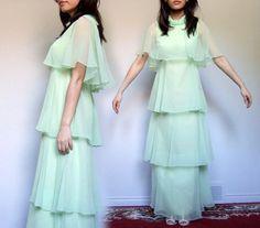 70s Chiffon Green Dress Tiered Party Dress by MidnightFlight
