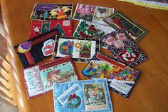 Christmas quilted postcards
