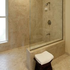 Classic Travertine Tile Shower Design Ideas, Pictures, Remodel, and Decor - page 36.  Squares