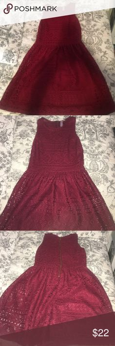 Cute dress Maroon lace dress. Worn once from Francesca's Francesca's Collections Dresses Mini