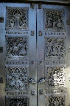 https://flic.kr/p/747Hhm | San Francisco - Nob Hill: Grace Cathedral - Old Testament Children's Doors | The Old Testament Children's Doors, also known as the Hooker Doors after their benefactor, Mr. Osgood Hooker, are located at the entrance to the South Tower of Grace Cathedral. The doors were designed and sculpted by Bruce Moore and cast by the Modern Art Foundry in 1964. The frames were fabricated by Michel & Pfeffer. The two massive 12-foot doors are each adorned with four cast bronze…