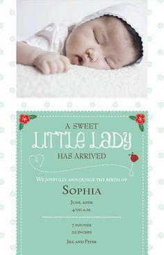 Little Lady Baby Announcement   Vistaprint