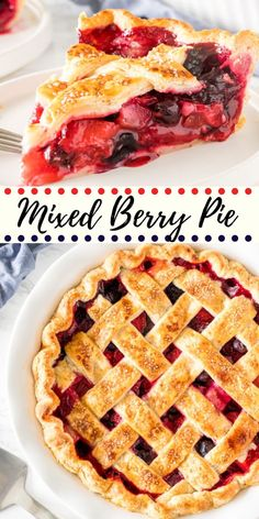 This mixed berry pie has triple the deliciousness because we're using 3 types of berries! The fruit filling is sweet and juicy without being soupy, and can easily be made all year long with fresh or frozen berries. Triple Berry Pie, Baking Recipes, Dessert Recipes, Kitchen Recipes, Delicious Desserts, Yummy Food, Food Porn, Bon Dessert, Berry Cake