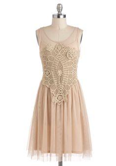 Bohemian Belle Dress - Solid, Crochet, A-line, Sleeveless, Cream, Party, Boho, Mid-length, Sheer, Graduation, Scoop