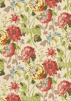LONGWOOD, Cranberry on Linen, F94128, Collection Richmond from Thibaut
