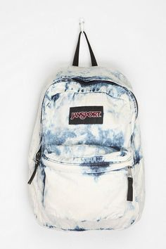 acid washed backpack  bleached black or blue denim jansport backpack