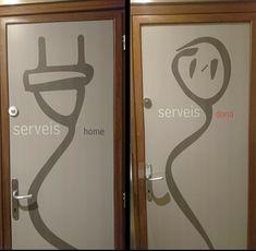 Lavabos de Cafeteria Ferrer de Granollers, Cataluña Wayfinding Signage, Signage Design, Canta Bar, Toilet Symbol, Smoke Bar, Wc Sign, Toilet Door Sign, Barbershop Design, Restroom Design