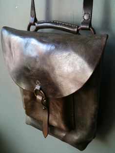 "bag 15""x12"" rustic backpack in glossy dark brown leather"