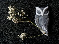 needle felted owl brooch - sleeping owl - fibre art jewellery - on Etsy