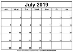 70 Best July 2019 Calendar Printable Templates Images In 2019